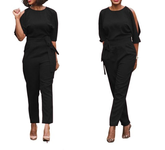 Back Open Split Casual Jumpsuits