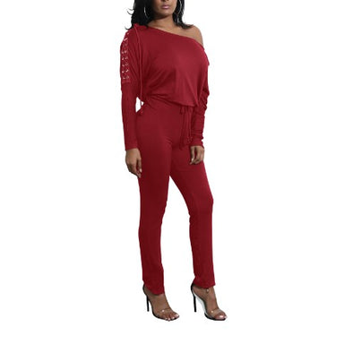 Irregular Slide Sleeve Casual Jumpsuits