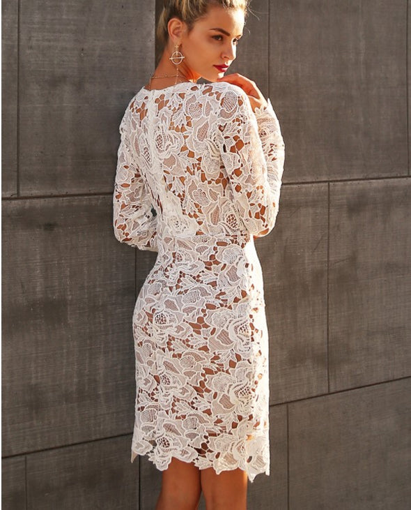 Openwork V Neck Long Sleeve White Lace Dresses