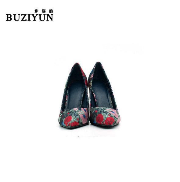 Embroidery High Heeled Point Toe Women Heels