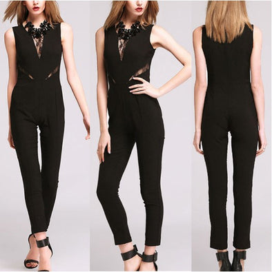 Lace V-neck Sleeveless Sexy Jumpsuits