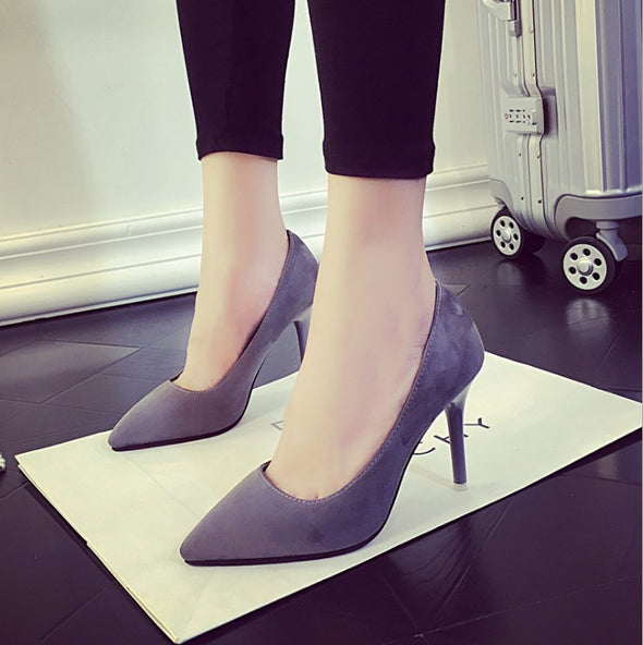 Solid Color High Heeled Point Toe Women Heels
