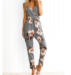 Sling V-neck Sexy Casual Floral Print Jumpsuits