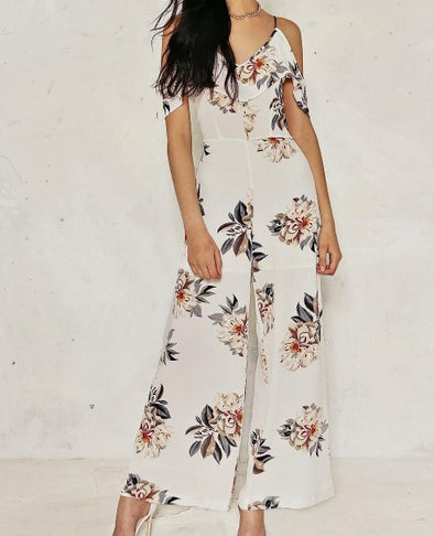 Round Neck Floral Print Sling Jumpsuits