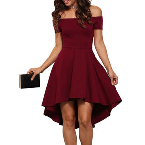 Off Shoulder Short Sleeve High Waist Skater Dresses