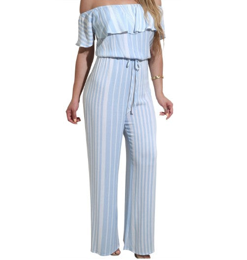 Off Shoulder Stripe Print Casual Jumpsuits