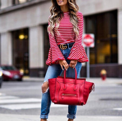 Round Neck Bell Sleeve Red and White Stripe Long Sleeve Tops