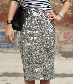 Sexy Silvery Sequins Bodycon Casual Skirts