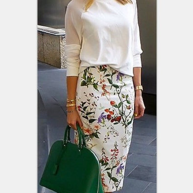 Paint Print Bodycon Casual Trend Skirts