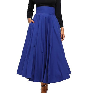 Solid Color High Waist Split With Pocket Skirts