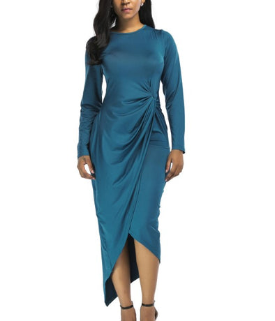Solid Color Irregular Pleated Plus Size Bodycon Dress