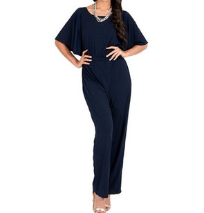 Short Sleeve High Waist Solid Color Loose Casual Jumpsuits