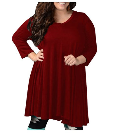 V-neck 3/4 Sleeve Loose Plus Size Casual Dresses
