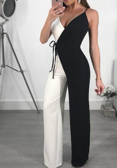 Colorblock Hit Color Sling Sexy Long Jumpsuits