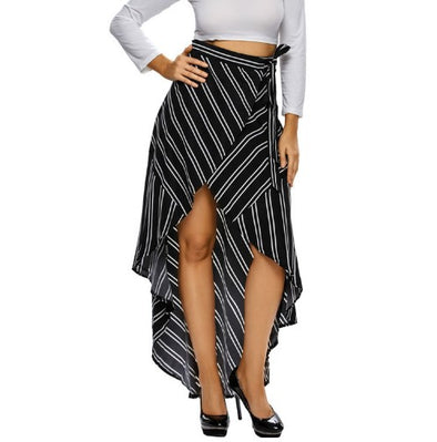 Irregular Stripe High Waist Simple Skirts
