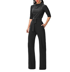 3/4 Sleeve High Neck Collar Solid Color Long Jumpsuits