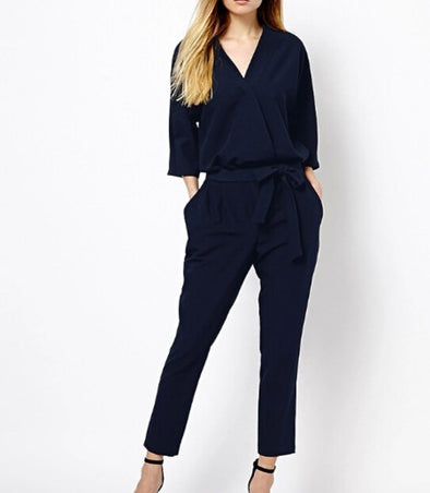 V-neck Long Sleeve Casual Loose Classic Jumpsuits