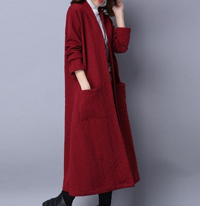 Cotton Solid Color Thickened Long Sleeve Long Coats