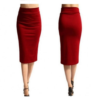 High Waist Solid Knee Length Slim Long Skirts