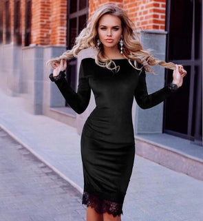 4f12e5ce1311 Sexy Lace Patchwork Round Neck Long Sleeve Bodycon Dresses