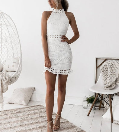 Sexy Standing Collar Sleeveless Hip Lace Mini Dresses