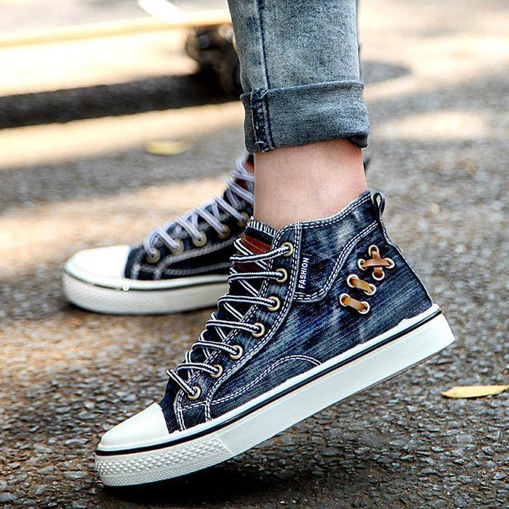 2019 New High Sneakers Denim Top Canvas Lindsaystory Women Shoes IfymY6b7gv