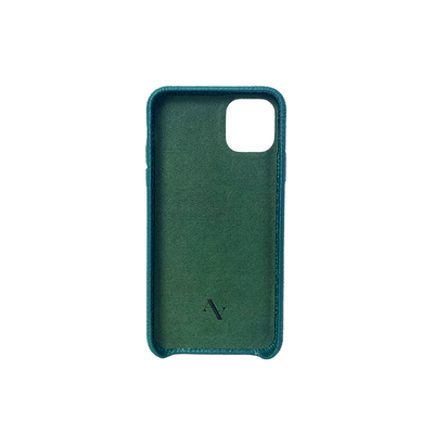 Pebble - Moss Green IPhone 11 Pro Max Case - MAAD Collective - Saffiano IPhone Personalized Case