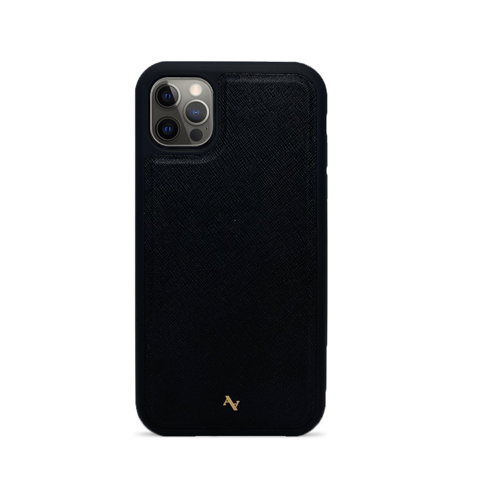 Black Leather IPhone 12 Pro Case - MAAD Collective - Saffiano IPhone Personalized Case