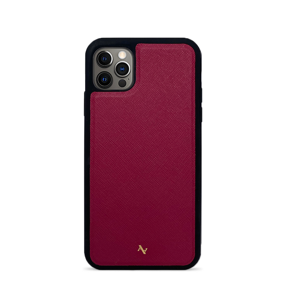 Red Leather IPhone 12 Pro Max Case - MAAD Collective - Saffiano IPhone Personalized Case