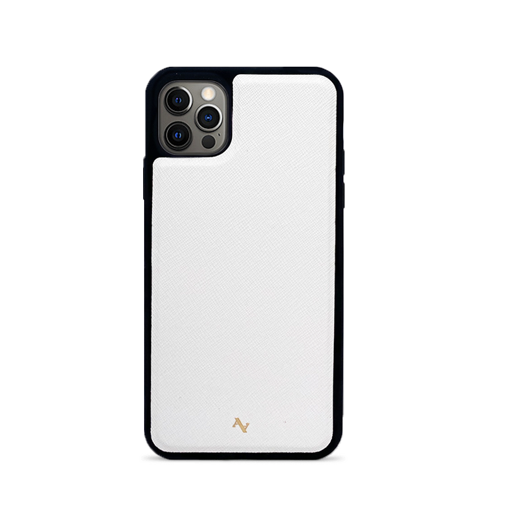 White Leather IPhone 12 Pro Max Case - MAAD Collective - Saffiano IPhone Personalized Case