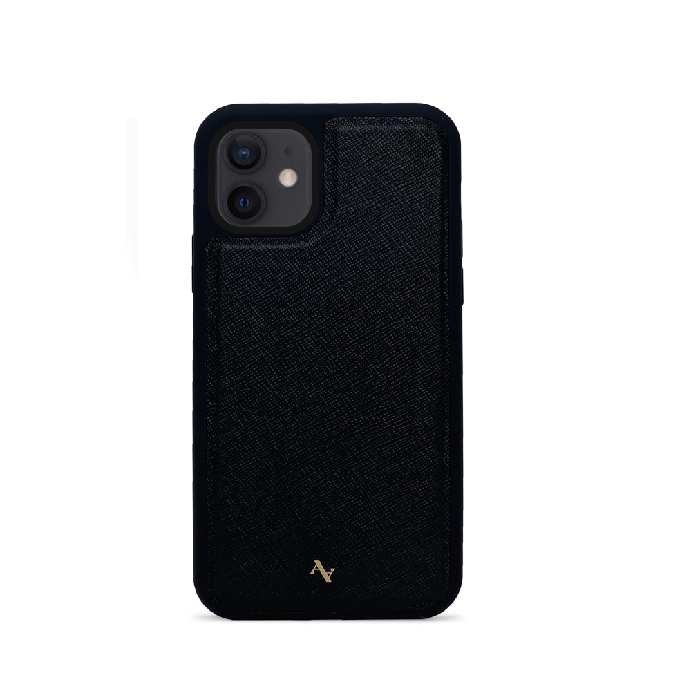 Black Leather IPhone 12 Mini Case - MAAD Collective - Saffiano IPhone Personalized Case