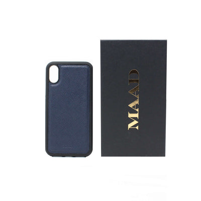 Navy Blue IPhone XS MAX Case - MAAD Collective - Saffiano IPhone Personalized Case