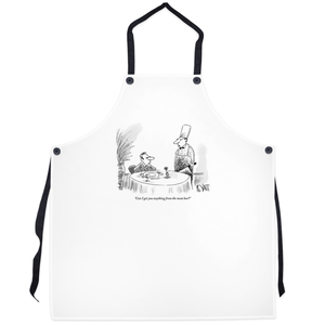 "Grilling aprons - ""Can I get you anything from the meat bar?"""