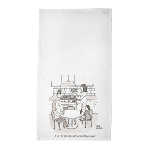"Amy Hwang Tea Towels - ""I vary her diet with a wide variety of pasta shapes."""