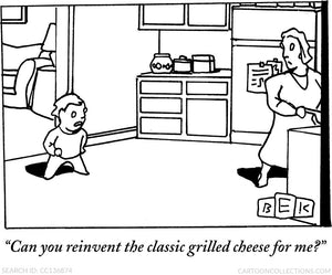 "Bruce Eric Kaplan Tea Towels - ""Can you reinvent the classic grilled cheese for me?"""