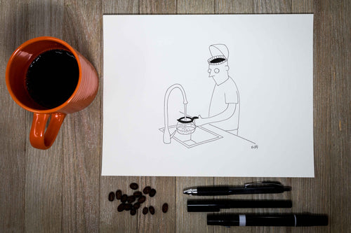 Seth Fleishman New Yorker Cartoon Redraw - Coffee Head