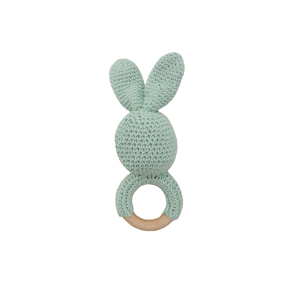 crochet wooden teether- mint