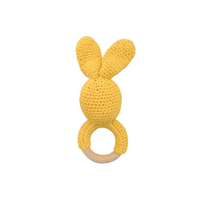 crochet wooden teether- mustard