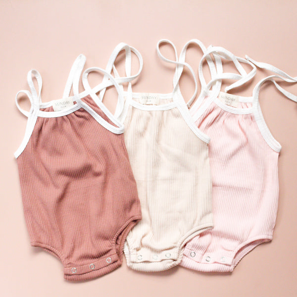 CALI lounge rompers - dusty rose + cream and sweet pink