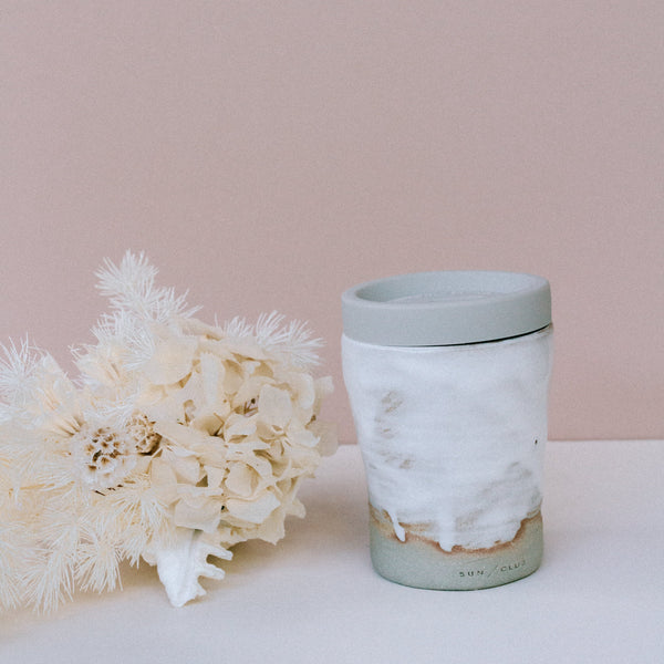 White Tumbler with Lid
