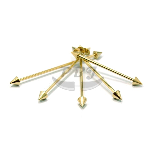 14G Industrial Cone Barbell-Gold Steel