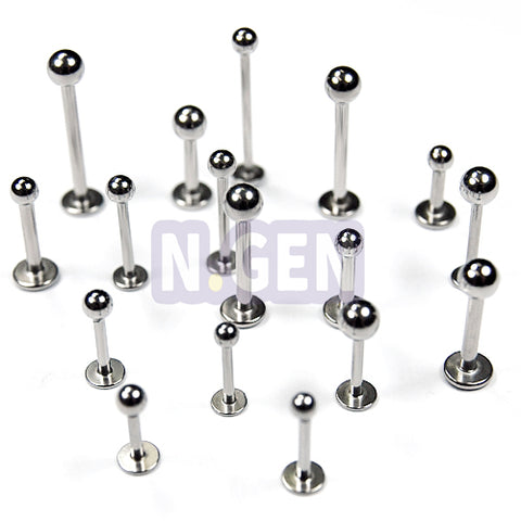 Labret 14G * 4mm Ball Long, 4pcs Price- 316L S. Steel