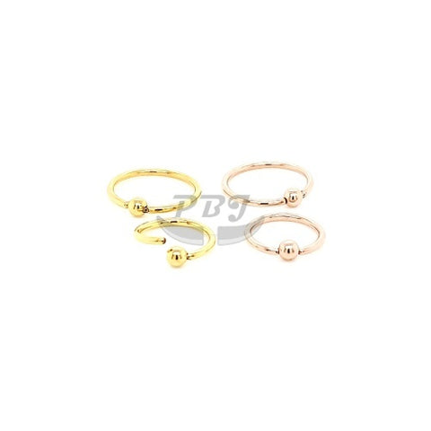 20G Gold/Rose Gold Ball Fixed Flexible Hoop 6pcs/pack Price - Gold Steel