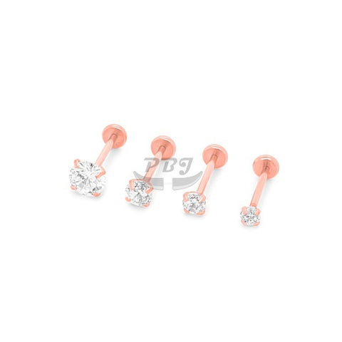20G CZ Top Rose Gold Back Push Labret-Gold Steel