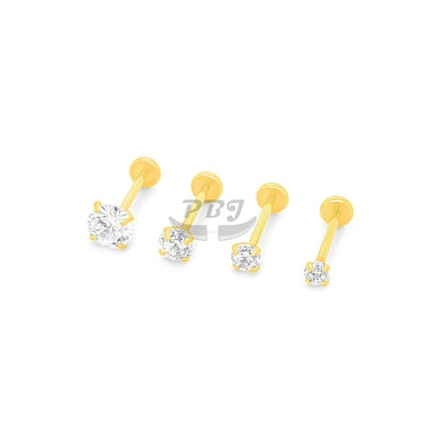 20G Gold/Rose Gold CZ set Back Push Labret-Gold Steel