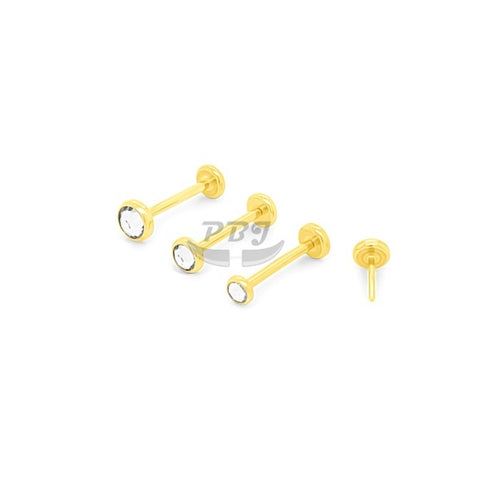 20G Gold/Rose Gold Back Push Labret-Gold Steel