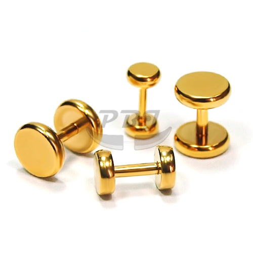 16G Round Edge Fake Plug-Gold Steel