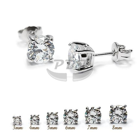 4 Prong Round Clear CZ Earstud White Gold