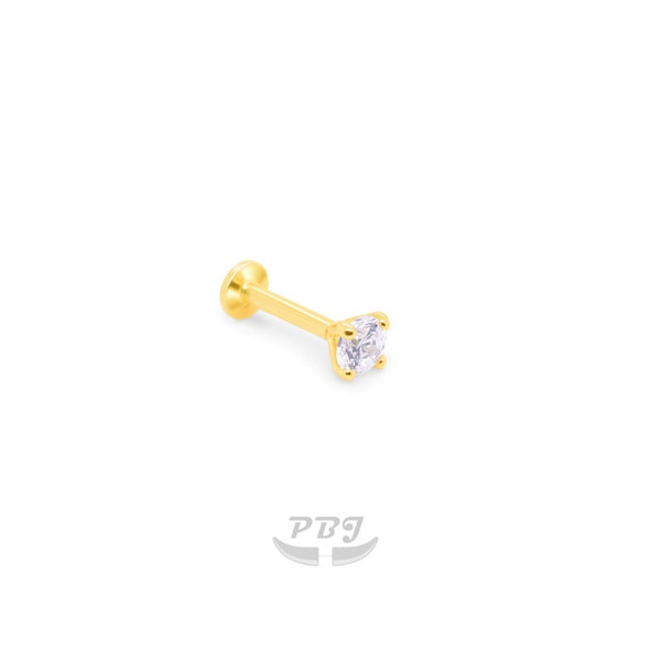 14K Gold 4 Prong 18g/16g Flat Back Labret