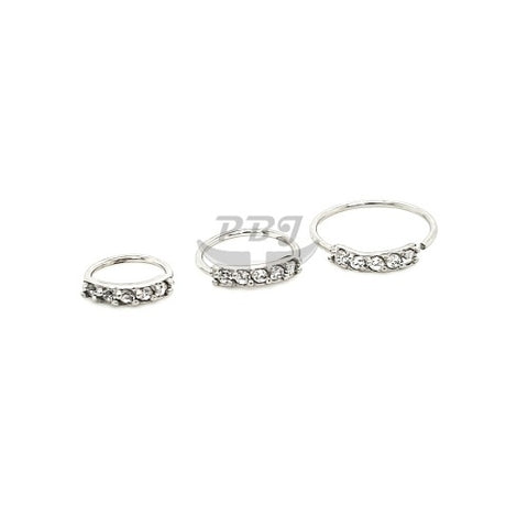 20G 5 CZ Prong Set Flexible Hoop 3pcs/pack Price-316L S. Steel